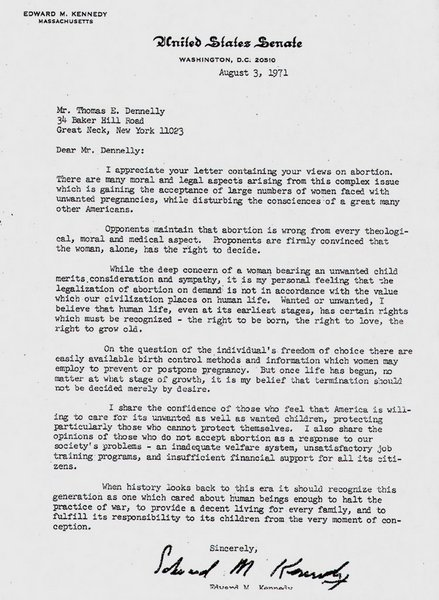 Ted Kennedy Abortion Letter